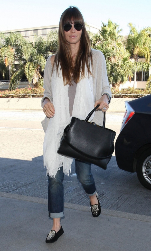 Jessica Biel Departing On A Flight At LAX